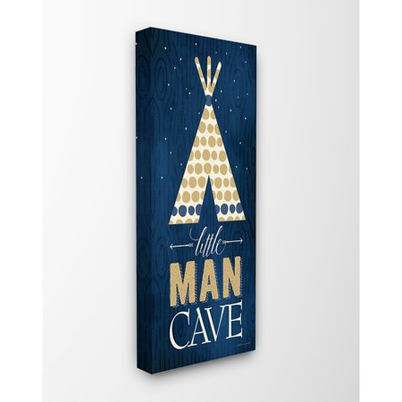 The Kids Room by Stupell Little Man Cave Tent Blue Wood Grain Oversized Stretched Canvas Wall Art, 13 x 1.5 x 30