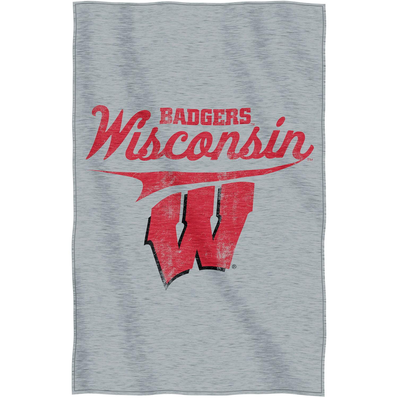 """NCAA Wisconsin Badgers """"Script"""" 54"""" x 84"""" Sweatshirt Throw"""