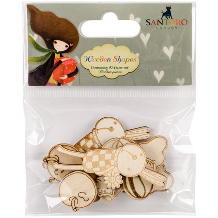 Santoro Kori Kumi Laser-Cut Wooden Shapes 10/Pkg-Characters, 5 Designs/2 Each - image 1 of 1