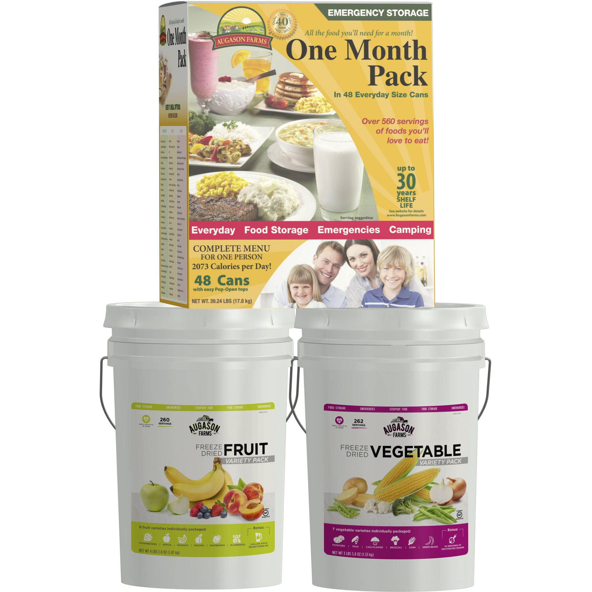 Augason Farms Emergency Food Freeze Dried Fruit/Vegetable & One Month Pack Food Storage Containers, 3 count
