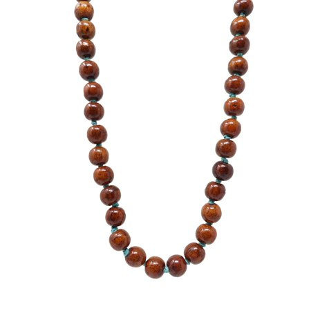 Brown Wooden Polished Beaded Necklace with Blue knotted Yarn for Women - Wood Handmade Fashion Bead Jewelry