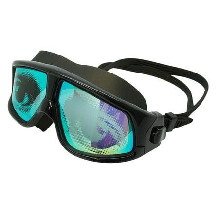 Adult Swim Mask (Adult Black Swim Mask With UV Mirror Anti-Fog Coated Lenses & Eye Graphics )