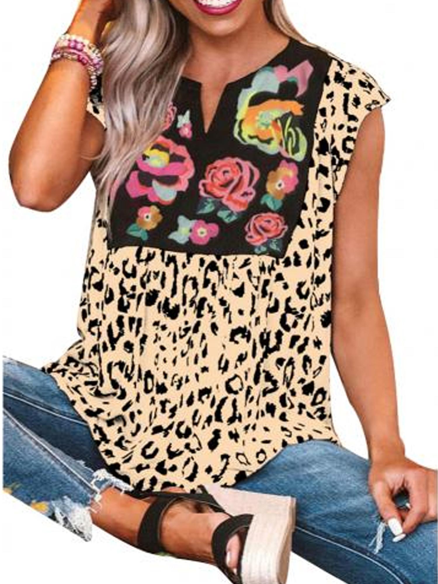 Boho Short Sleeve Floral Loose Tops Women Blouse T Shirt Tee V Neck Summer Beach