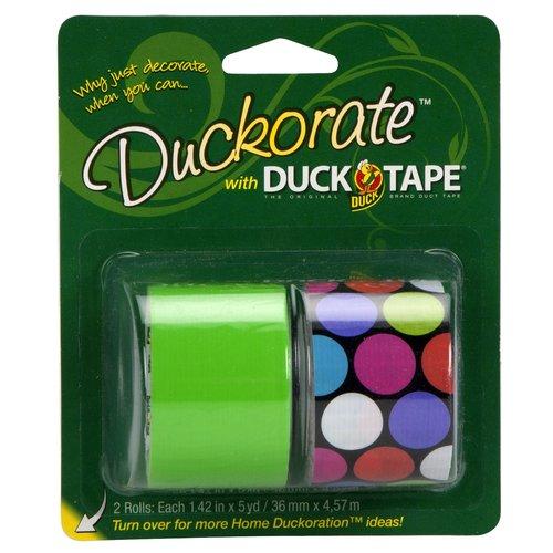 Duckorate Duck Tape, Multi-Color Polka Dot/Neon Green, 2-Pack