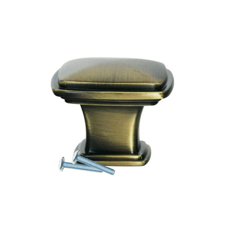 Temple Square Style Rustic Brass Cabinet Hardware Knob, 1-7/32