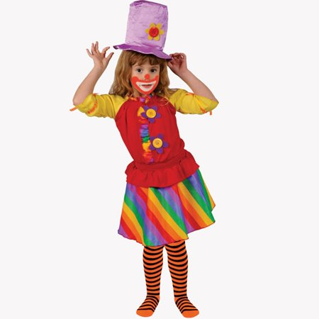 Dress Up America  Girl's 'Rainbow Clown' Costume - Red](Cute Clown Costumes For Womens)