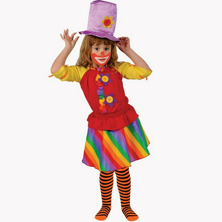 Cute Girl Clown Costumes (Dress Up America  Girl's 'Rainbow Clown' Costume -)