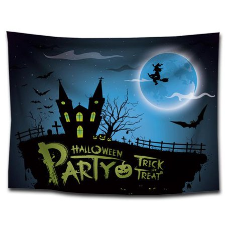 Halloween Themed Radio (KABOER 1Pcs Halloween Hanging Tapestry Halloween Theme Witch Flying Moonlight Pattern Printing Tapestry Home Decoration Bedroom Living Room Dormitory)