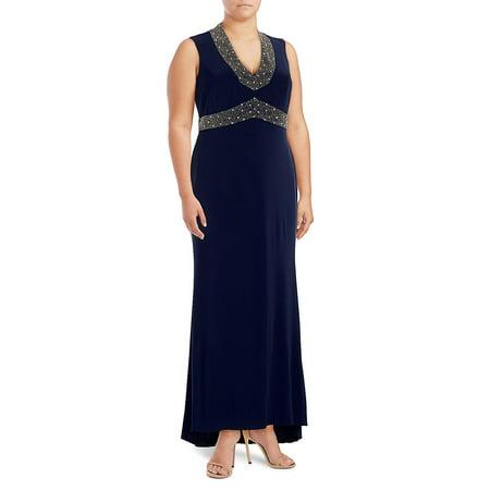 Betsey & Adam - Betsy & Adam Women\'s Plus Size Beaded Gown - Walmart.com