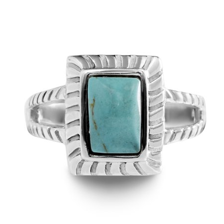 Simulated Turquoise Square Ring in Sterling Silver