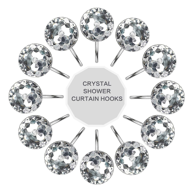 Walfront Shower Curtain Hooks 12pcs Clear Decorative