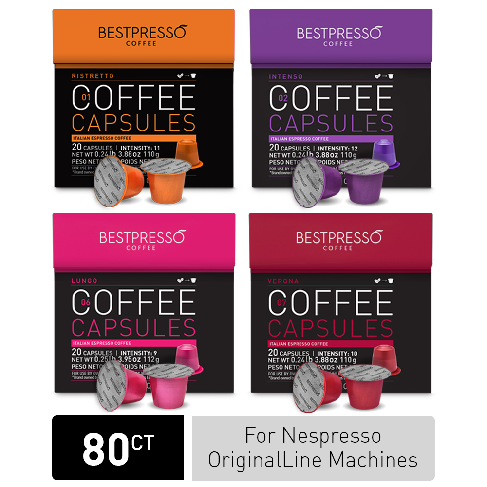 Bestpresso Coffee Capsules For Nespresso OriginalLine Machines, 80 Count (Ristretto, Intenso, Lungo, Verona)