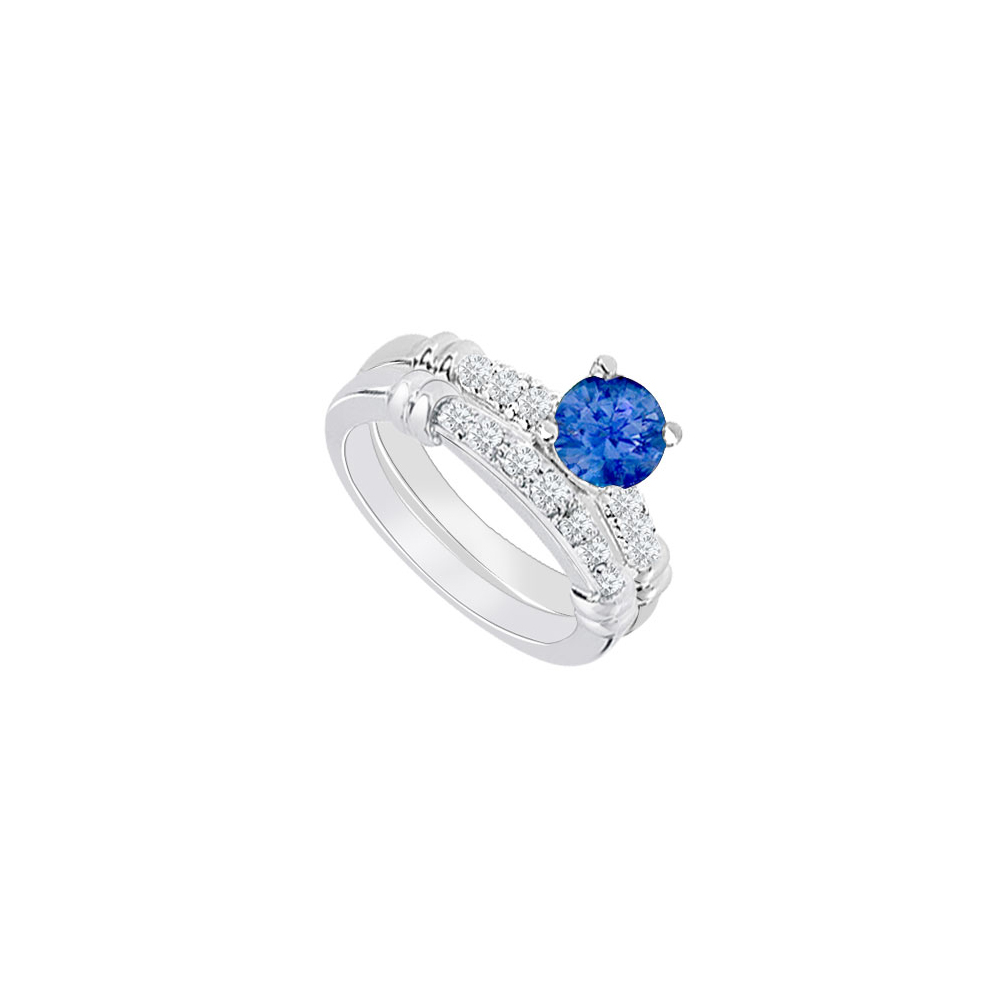 14K White Gold Created Sapphire and Cubic Zirconia Engagement Ring with Wedding Band Set 0.75 CT by Love Bright