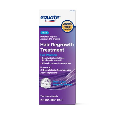 Equate Women's Minoxidil Foam for Hair Regrowth, 2-Month