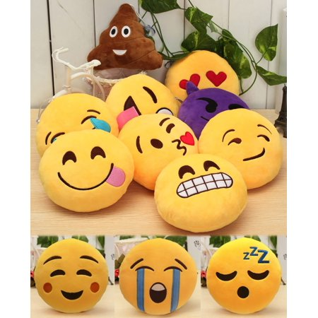 【Holiday Gifts】32cm Emoji Pillows Emoticon Soft Plush Stuffed Full Collection Cushions 1PACK (Style May Vary)
