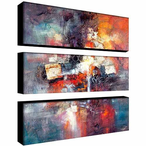 "Trademark Fine Art ""Cube Abstract III"" Canvas Art by Rio, 3-Piece Panel Set, 10x32"