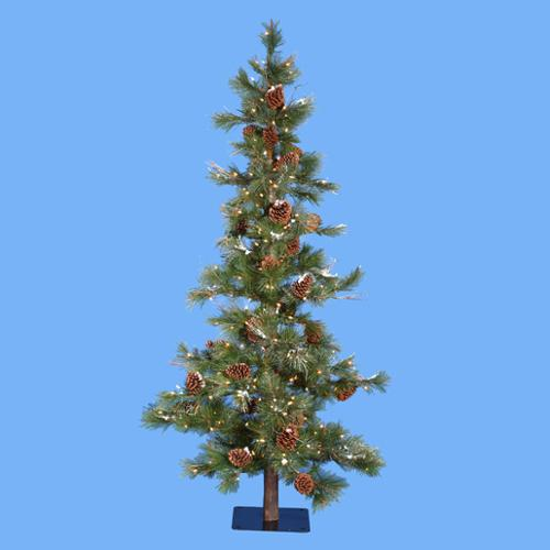 7' Pre-Lit Country Rustic Pine Cone Glitter Christmas Tree - Clear Lights