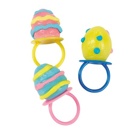 Fun Express - EgG-Shaped Sucker Rings for Easter - Edibles - Sucker & Pop - Ring & Pacifier Suckers - Easter - 12 Pieces - Ring Pops