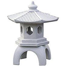 "StoneWorks Cement PAGODA Lantern 16""H, 3-piece GRAY CONCRETE Outdoor Garden Statue"