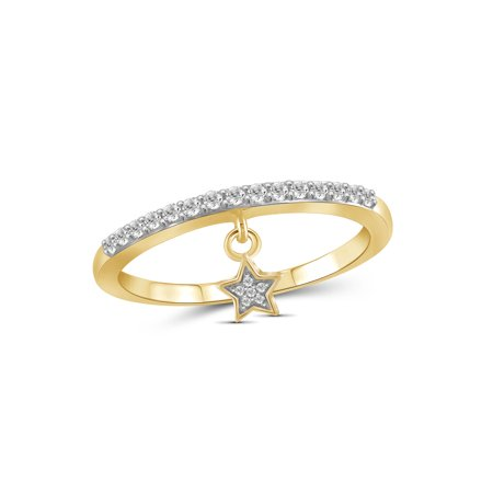 1/5 Carat T.W. White Diamond 14k Gold Over Silver Star Stackable Ring
