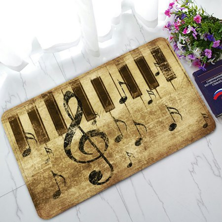 Math Music (PHFZK Music Doormat, Vintage Retro Music Notation Doormat Outdoors/Indoor Doormat Home Floor Mats Rugs Size 30x18 inches)
