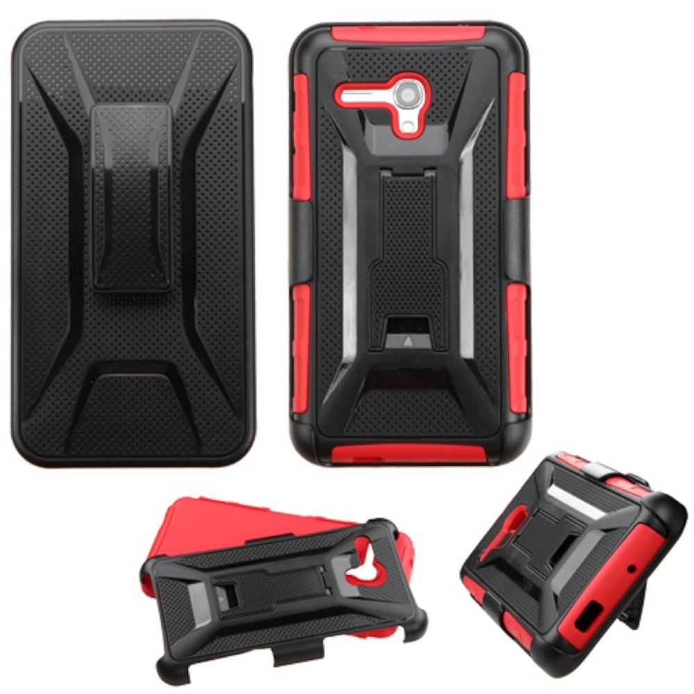 Insten Hard Hybrid Plastic Silicone Case w/Holster For Alcatel One Touch Fierce XL - Black/Red