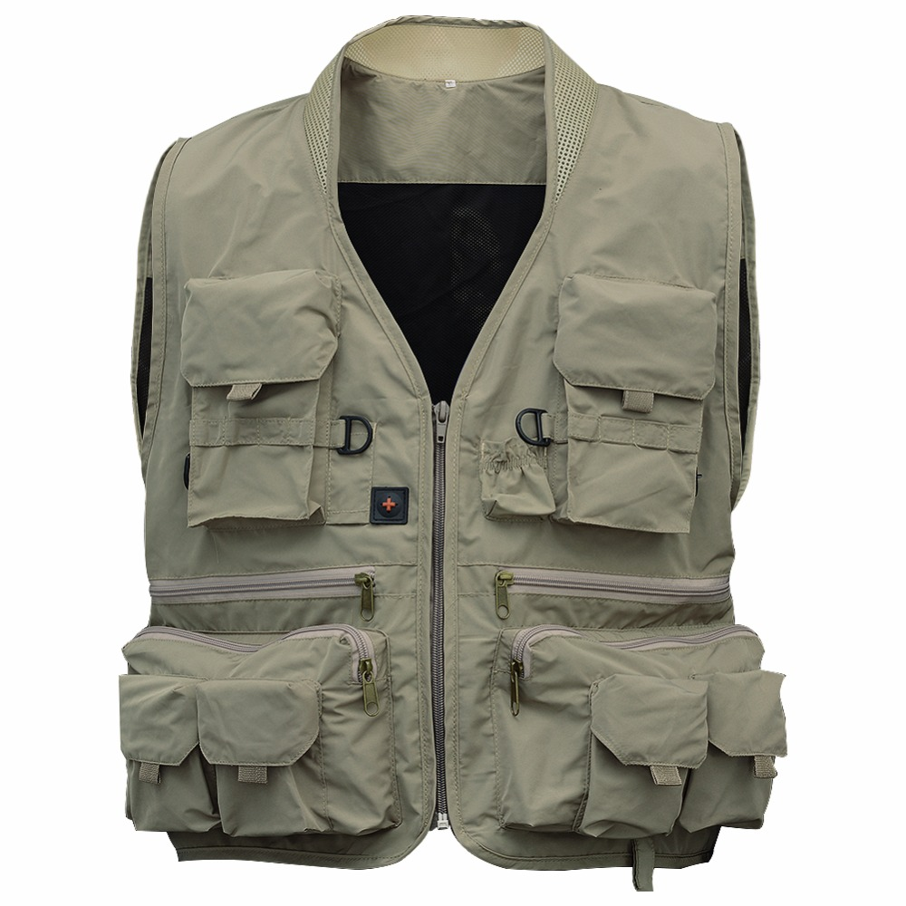 Fishing Vest Men's Multi Pockets Waistcoat Jacket Breathable Quick Dry Travels Outdoor Sports Mesh Vest Color:Green... by