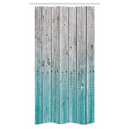 Rustic Stall Shower Curtain, Wood Panels Background with Digital Tones Effect Country House Art Image, Fabric Bathroom Set with Hooks, 36W X 72L Inches Long, Pale Blue and Grey, by Ambesonne ()