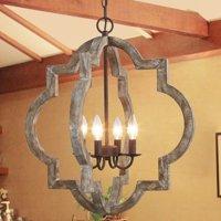 Farmhouse Wood Chandeliers  Lantern 4-lights Pendant Lights for Living Room,Dining Room