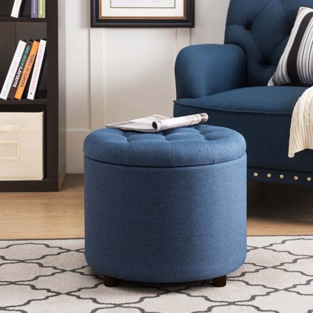 SJ Collection Round Tufted Ottoman with Storage, 5-in-1 Chest Seating Foot Rest Stool Chair with Tray, Navy ()