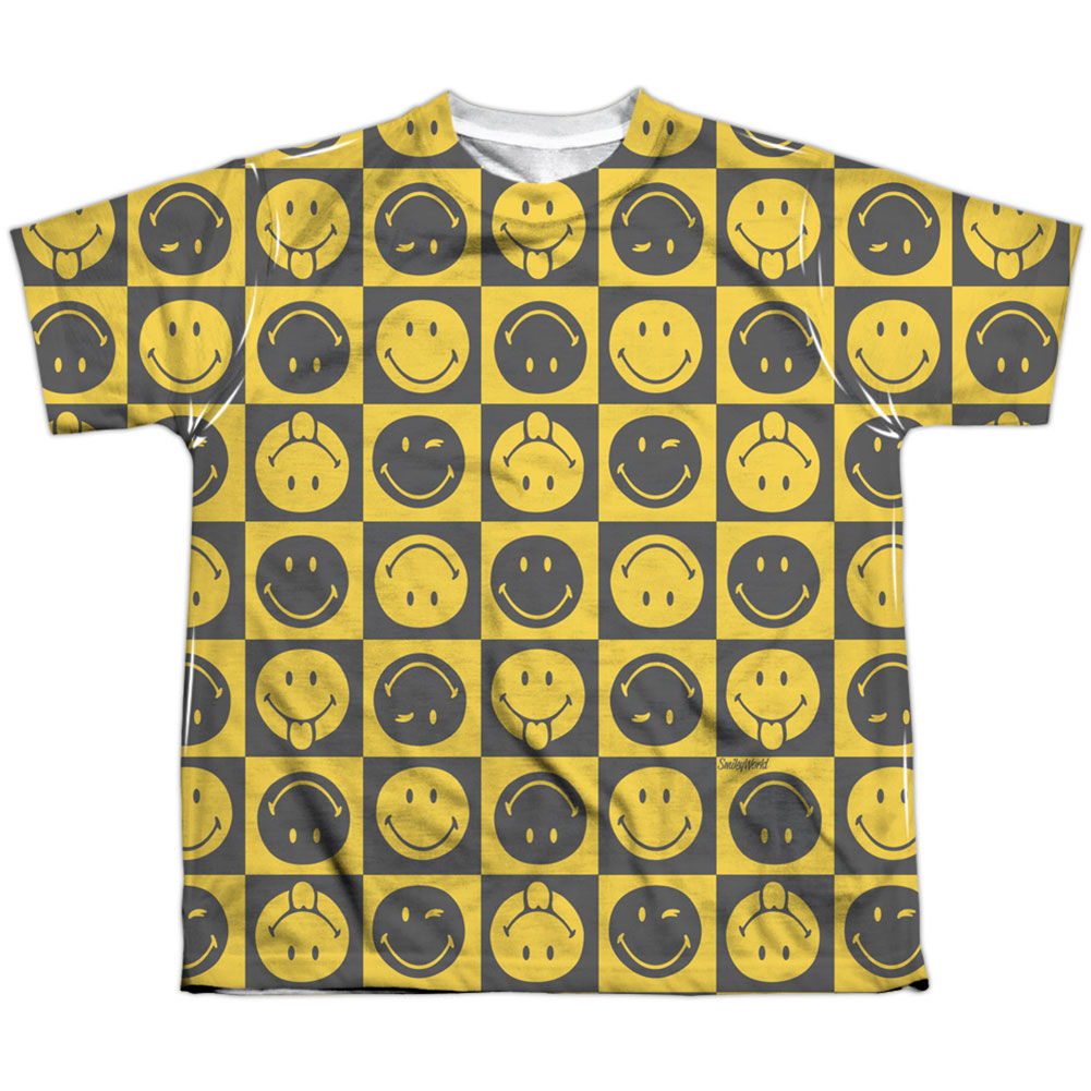 Smiley Men's  Checkerboard Smiley Sublimation T-shirt White
