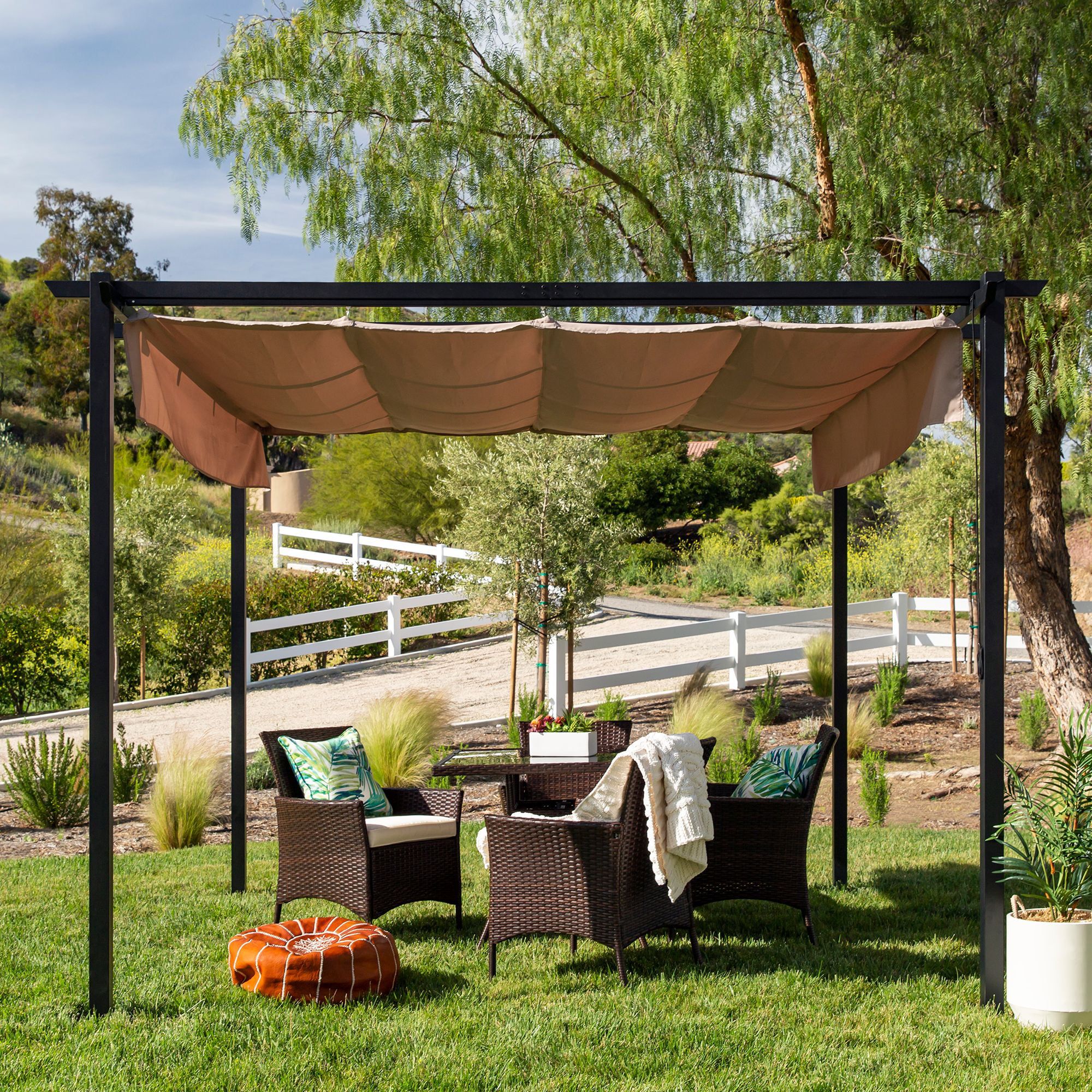 Best Choice Products 10x10ft Patio Weather Resistant Pergola Shelter W Retractable Sun Shade Canopy Steel Frame Walmart Com Walmart Com
