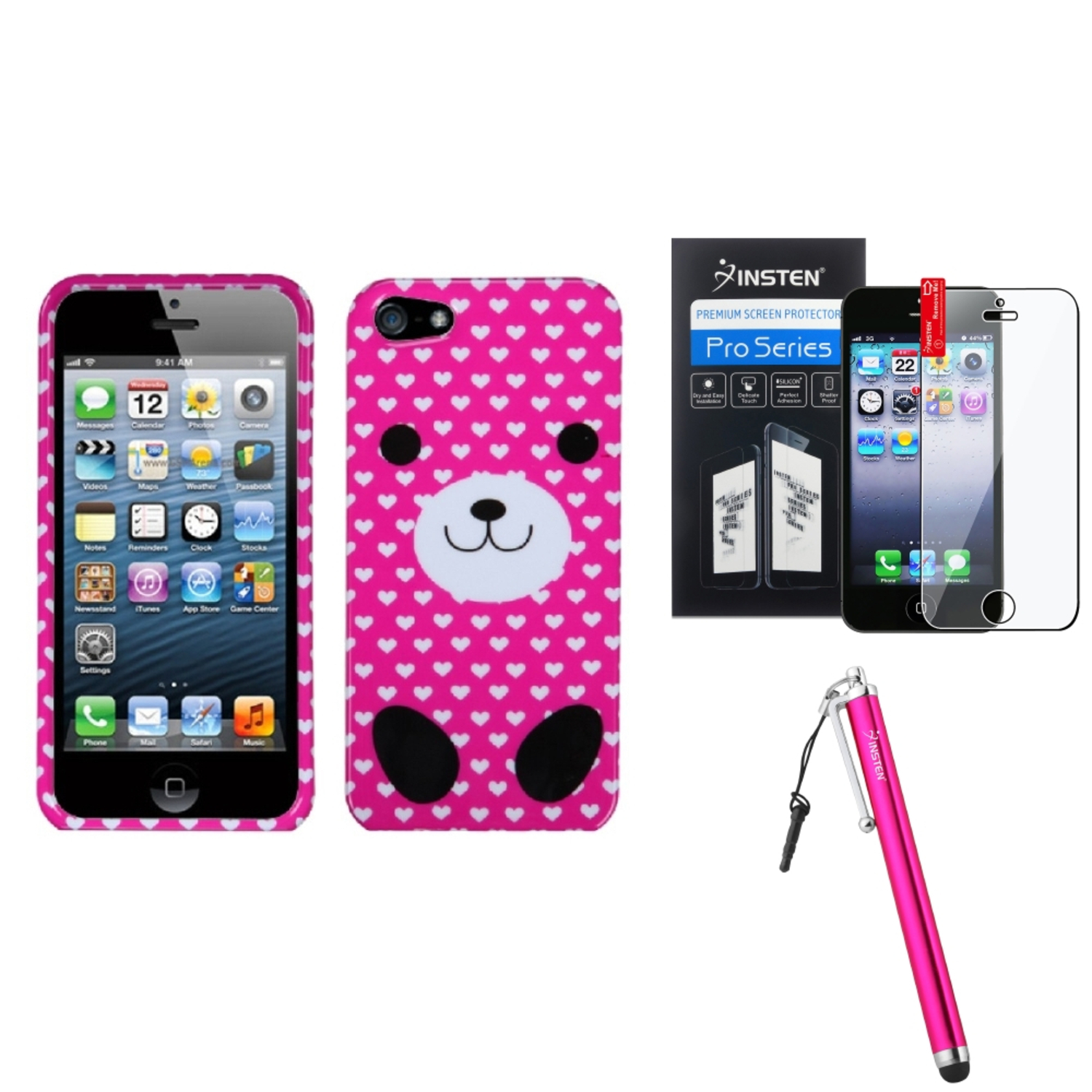 Insten Dog Love Case For Apple iPhone 5 / 5s + Stylus + Screen Guard