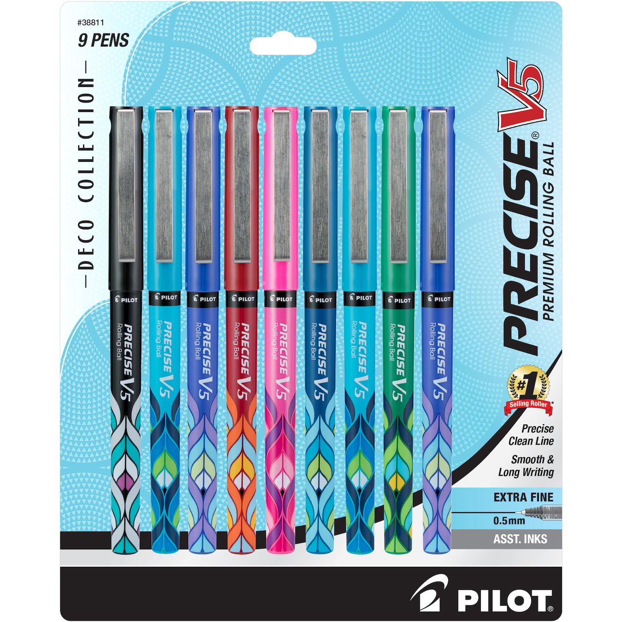 Pilot Precise Deco Collection Rolling Ball Stick Pens, Extra Fine Point, Assorted Ink, 10-Pack