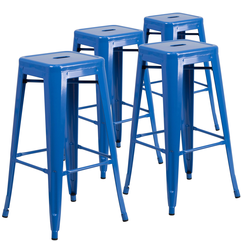Magnificent Flash Furniture 30 High Backless Metal Indoor Outdoor Bar Inzonedesignstudio Interior Chair Design Inzonedesignstudiocom