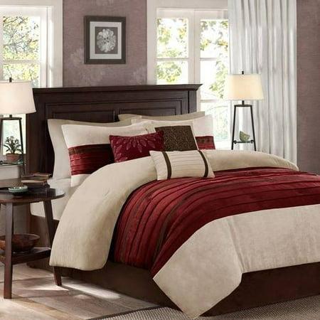 Red Dakota Microsuede Pieced Comforter Set (King) 7pcs