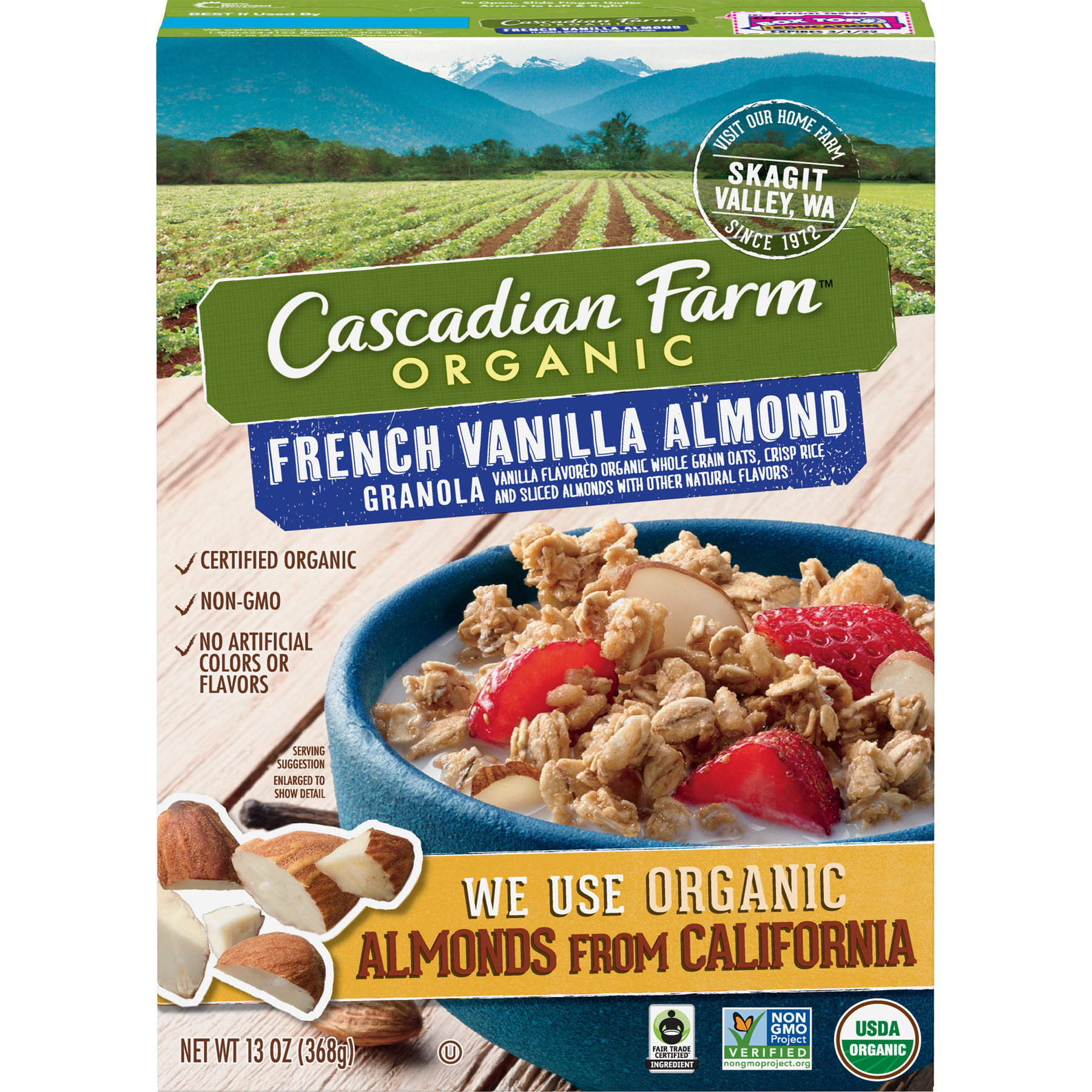 Cascadian Farm Organic Granola, French Vanilla Almond Cereal, 13 oz