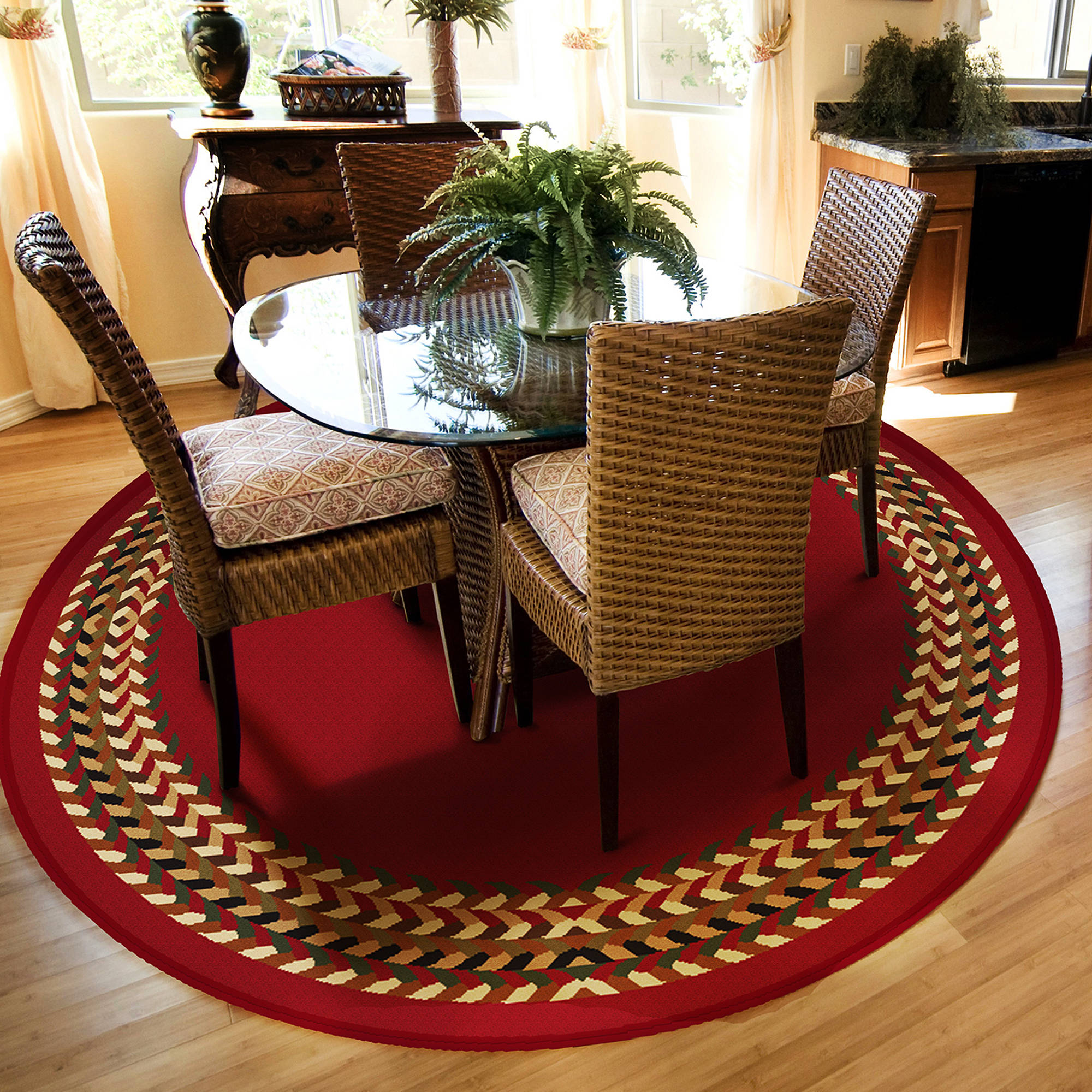Orian Braid Border Olefin Area Rug Available In Multiple Colors And Sizes