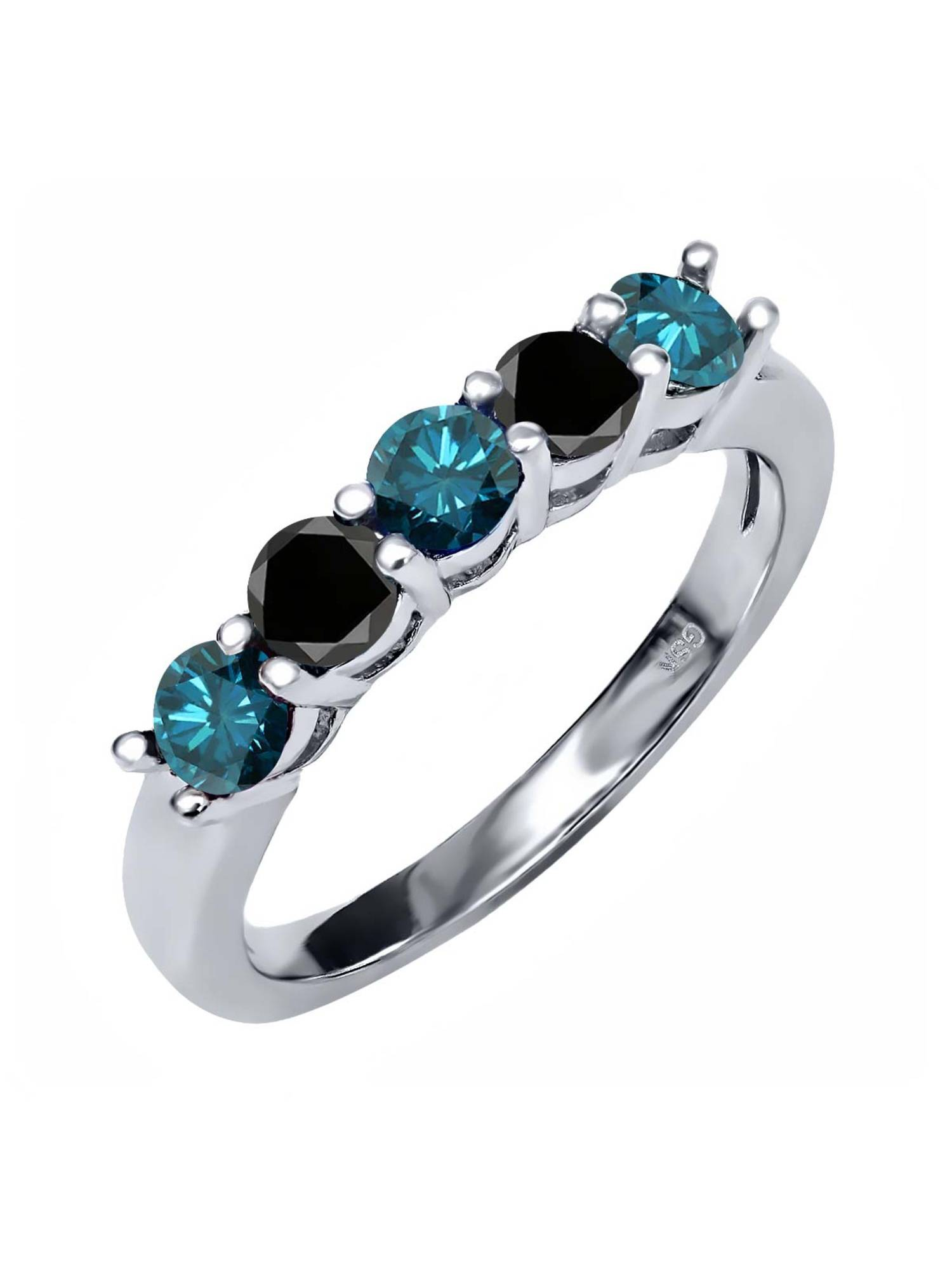 0.79 Ct Round Blue Diamond Black Diamond 925 Sterling Silver Ring by