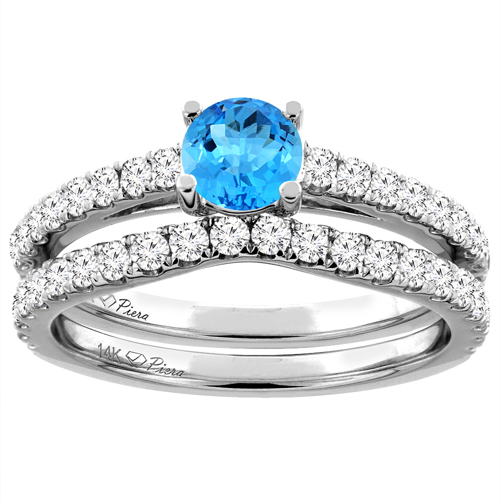 14K White Gold Diamond Natural Swiss Blue Topaz Engagement Bridal Ring Set Round 6 mm, size 5 by Gabriella Gold