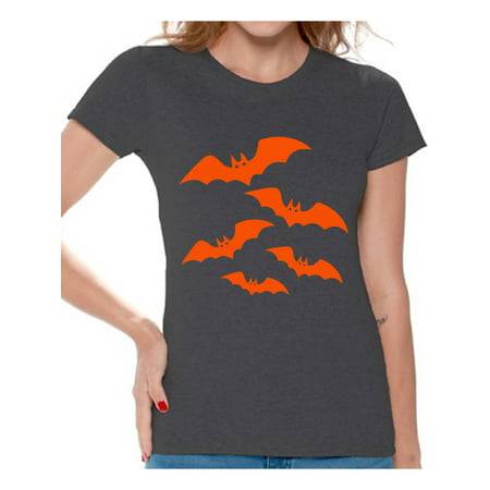 Awkward Styles Orange Bats Tshirt for Women Halloween Bats Shirt Women's Halloween Shirt Funny Cartoon Bats T Shirt Holiday Gifts for Her Halloween Party Outfit Family Trick Or Treat Women's Tshirt - Mickey's Halloween Party Cartoon