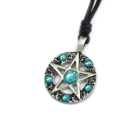 Pewter Star Charm - Baby Blue 5 Pointed Star Pentagram Witchcraft Silver Pewter Charm Necklace Pendant Jewelry With Cotton Cord