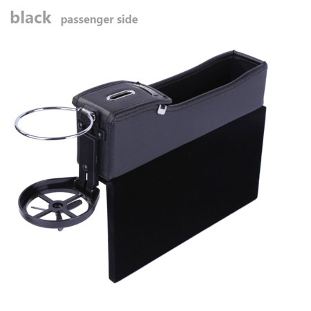 Multi-Function Car Console Coin Side Pocket With Cup Holde PU Leather Gap Filler Car Organizer