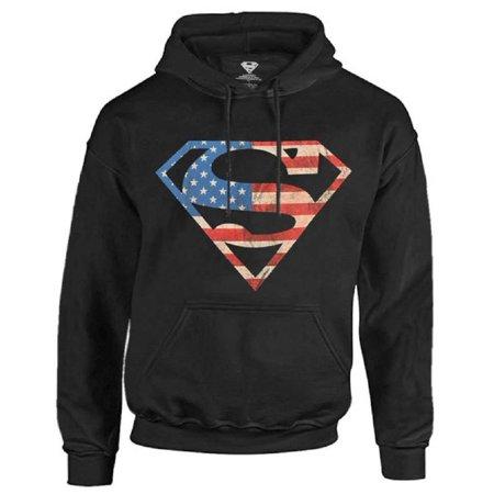 Superman Men's Hoodie Sweatshirt Super Hero DC Comics Star Stripes Warner Bros](Superman Suits For Sale)