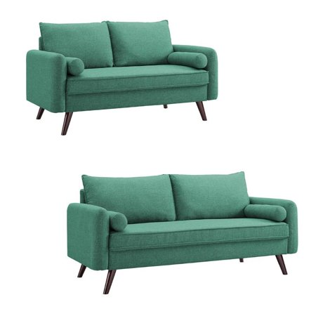 Marvelous Mid Century Modern 2 Piece Sofa And Loveseat Set In Teal Inzonedesignstudio Interior Chair Design Inzonedesignstudiocom