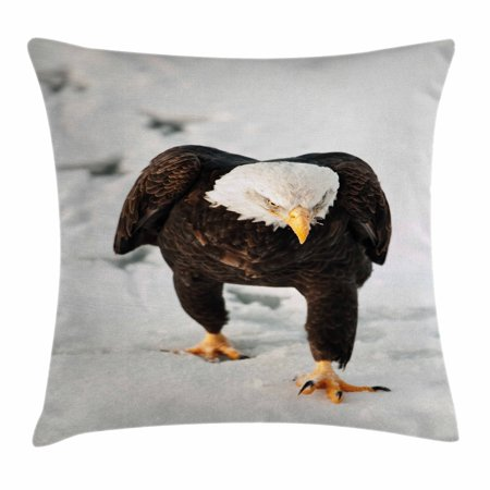 Eagle Throw Pillow Cushion Cover, Majestic Bird Walking on the Snow and Leaving Traces Looking for Prey, Decorative Square Accent Pillow Case, 18 X 18 Inches, Dark Brown Coconut Apricot, by Ambesonne
