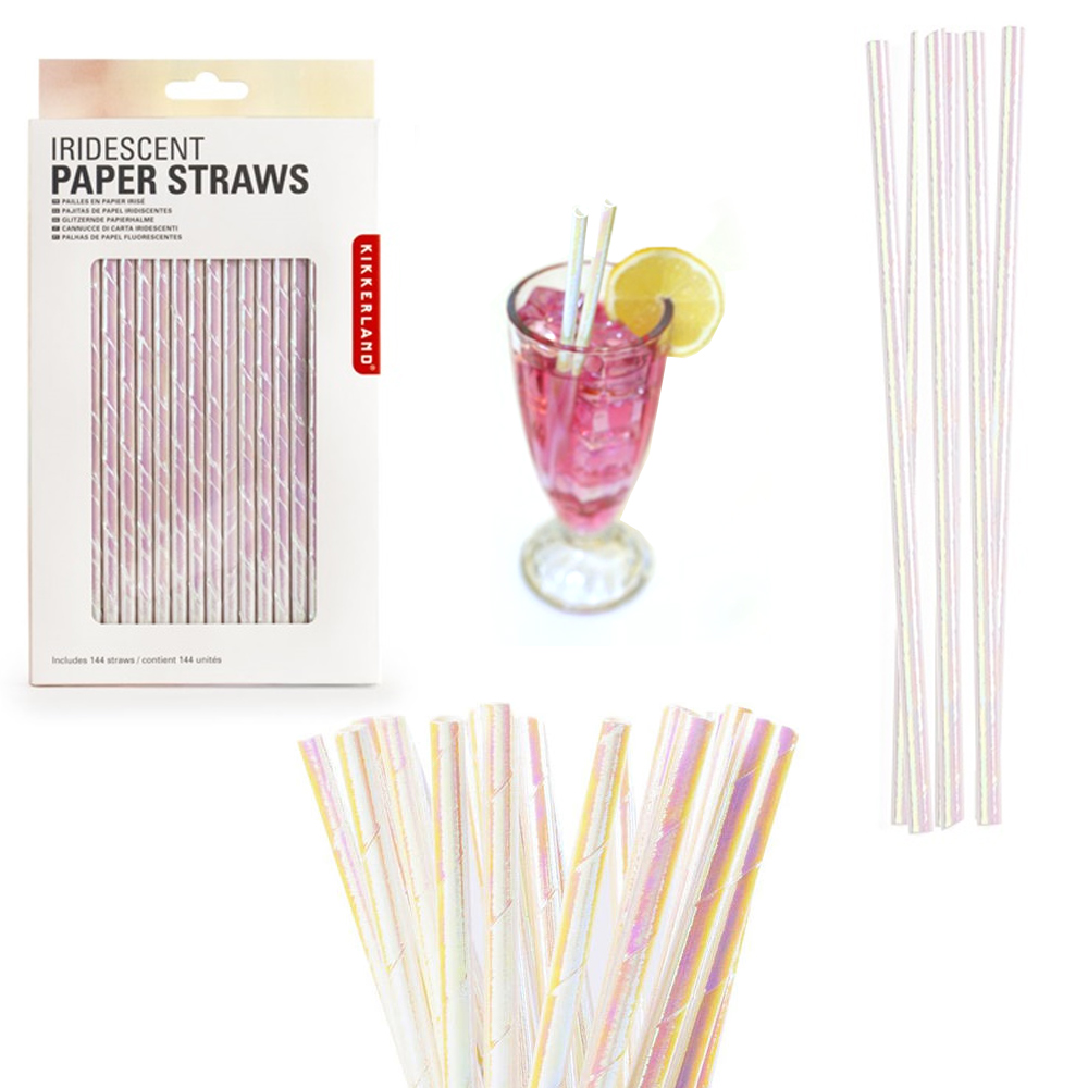 144 Pc Kikkerland Paper Straws Iridescent Holographic Biodegradable Food Safe