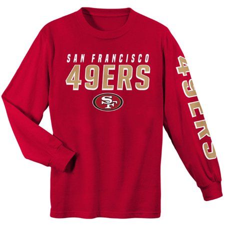 Glass San Francisco 49ers Football (Youth Scarlet San Francisco 49ers Sleeve Hit Long Sleeve T-Shirt )