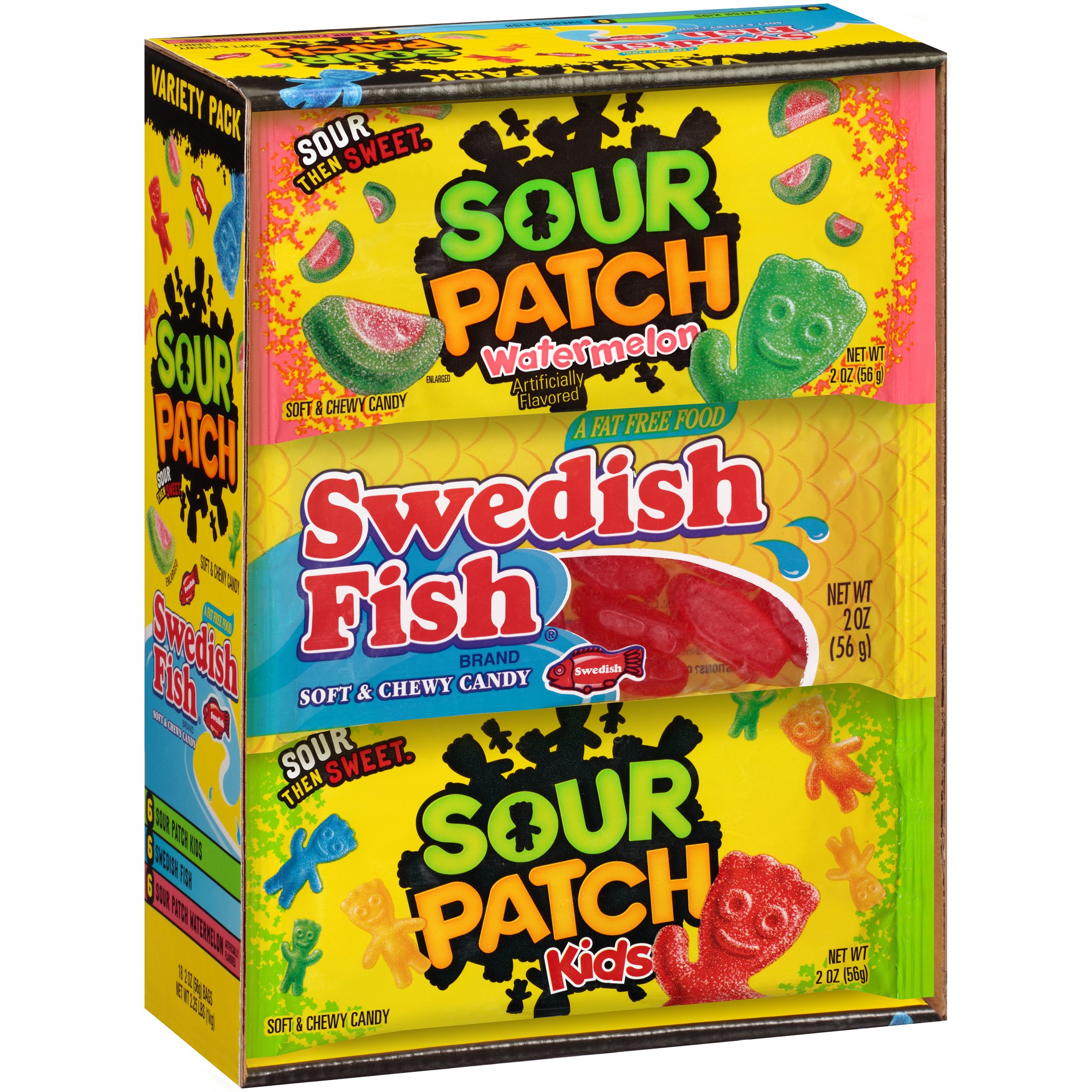 Sour Patch Watermelon, Sour Patch Kids, Swedish Fish Soft & Chewy Candies, 2 Oz., 18 Count
