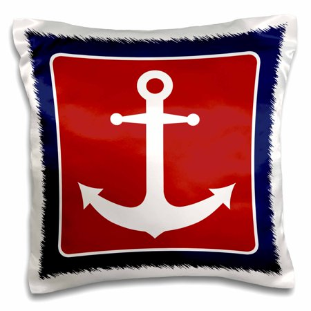 Nautical Designs - 3dRose Red White and Blue Nautical Anchor Design, Pillow Case, 16 by 16-inch